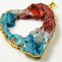 1 Pc - 57x53x9mm Gold Wrapped Titanium Crystal Agate Druzy Pendant - Red White Blue - Gemstone Pendant - Jewelry Supplies