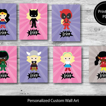 Girl Superhero Personalized nursery print, Custom kids wall art, Kids bedroom,Printable 3 Set Wall Art