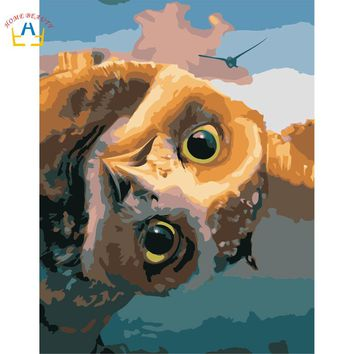 Diy oil painting paint by numbers canvas acrylic picture for living room wall art Modular wall drawing lovely owl R100