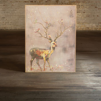 Oil Painting-Deer with Tree & Birds Antlers & Gold Frame