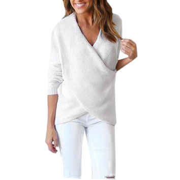Fashion Womens Sweater Long V-Neck Cross Long Sleeve Loose Knitted Casual Jumper Tops Solid Gray White Outwear pull femme #LSN