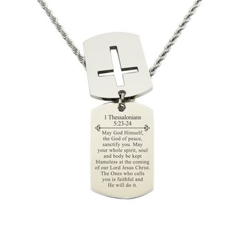 Mens Scripture Double Tag Necklace - 1 THESSALONIANS 5:23-24