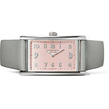 Tiffany & Co - East West mini 37 leather and stainless steel watch
