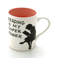Reading Tea Mug Reading is my Superpower Great gift for Book Lover PINK