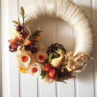 Thanksgiving Yarn Wreath, Felt Flowers Maple Leaves & Gourds, Holiday Front Door Decor Hostess Gift 12 in.