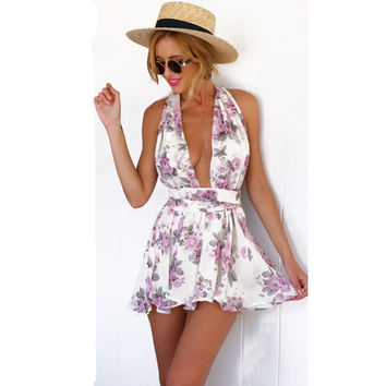 New 2015 Sexy Beautiful Deep V Halter Ribbon Floral Printed Jumpsuits