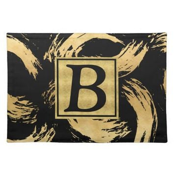 Glam Gold Brush Strokes Monogrammed Placemat