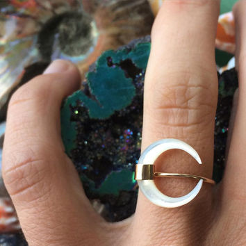Sailors Moon Ring- Mother of Pearl Crescent Moon Ring- Made to order. Crescent Moon Ring. Celestial jewelry.