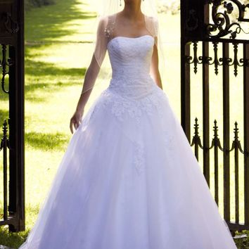 Strapless Tulle Ball Gown with Lace Embellishments - David's Bridal- mobile