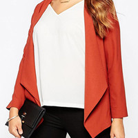 Red Water Fall Front Long Sleeve Plus Size Blazer