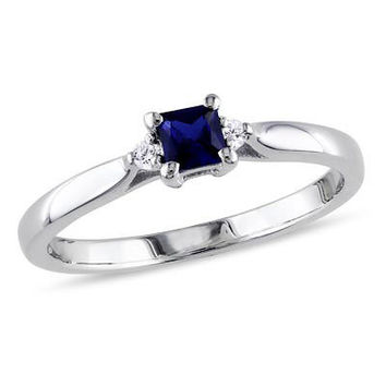 Princess-Cut Lab-Created Blue Sapphire and Diamond Accent Promise Ring in Sterling Silver - Save on Select Styles - Zales