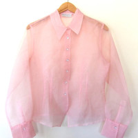 90s Sheer GOSSAMER Tailored Blouse // Delicate See Through Pointed Collar Top