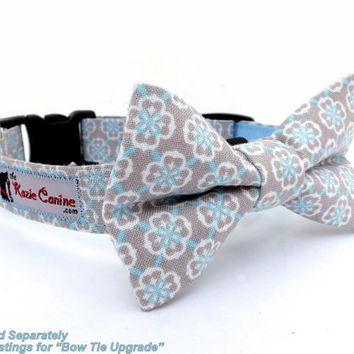 Sky Blue Damask on Light Grey Dog Collar by theKozieCanine on Etsy