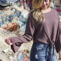 Saffron Knot Tie Cropped Top, Taupe