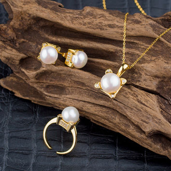Gift New Arrival Jewelry Shiny Cats Pearls Simple Design Stylish Pendant Earring Ring Accessory Necklace [4914832196]