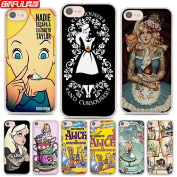 BiNFUL Hot Sale Alice in Wonderland style hard clear Phone Cases Cover for Apple iPhone 7 7Plus 6s 6Plus 5 5s X 8 8Plus 4s