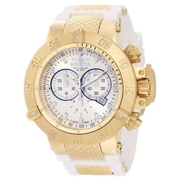 Invicta 11835 Men's Subaqua Noma III Silver Dial Steel & White Rubber Strap Chronograph Dive Watch