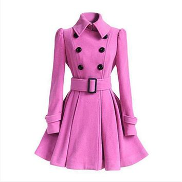 PEAPON Day First Wool coat belt buckle coat