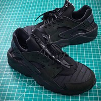 Nike Air Huarache Run Qs Nyc Triple Black Sport Running Shoes - Best Online Sale