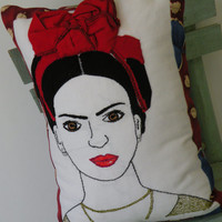 Frida Kahlo Pillow, Portrait of a Woman, Designer Pillow, Hand Embroidered Pillow, Handmade Pillow, Art Pillow