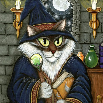Cat Wizard Art Merlin Magician Cat Painting Magic Maine Coon Cat Gothic Cat Art Fantasy Cat Art Print 8x10 Cat Lovers Art