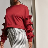Ruffle-Sleeve French Terry Pullover