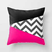 Color Blocked Chevron 8 Throw Pillow by Josrick
