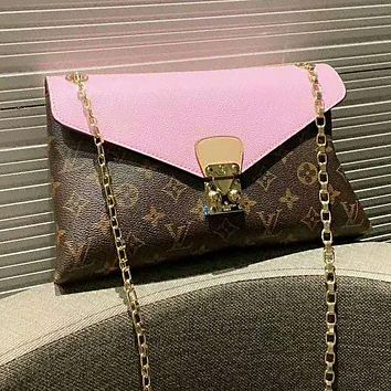 LV Louis Vuitton High Quality Newest Women Leather Metal Chain Envelope Bag Satchel Shoulder Bag Pink