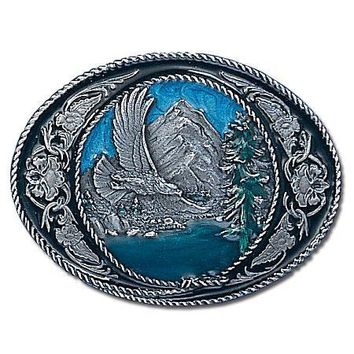 Sports Accessories - Eagle/Western Scroll Enameled Belt Buckle