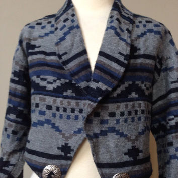 80s Vintage Bolero Jacket Southwest Print with Velvet Tassels Shrug Blue cropped coat