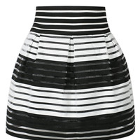 Black Stripe Sheer High Waisted Skater Skirt