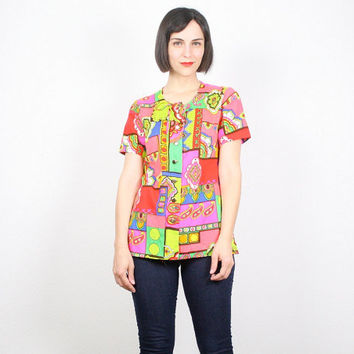 Vintage Psychedelic Shirt Tunic Top Hippie Top Button Up Shirt Neon Bright Rainbow Color Block 1970s 70s Op Art Blouse Smock Top  M Medium