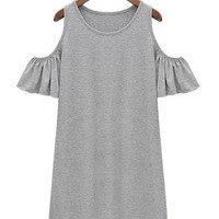 Gray Cold-Shoulder Dress