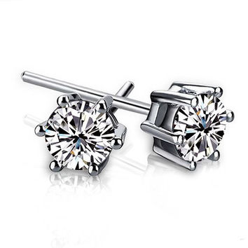 925 Sterling Silver Six Claw Stud Earrings