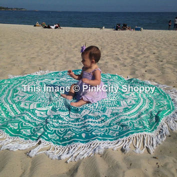 Round Mandala Tassel Roundie Yoga Mat Table Cloth Fringing Beach Throw Hippy Hippie Boho Gypsy Cotton Tablecloth Beach Towel wall hanging