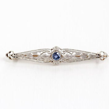 Antique 18k Yellow Gold & Platinum Genuine Blue Sapphire Filigree Pin - Art Deco 1910s 1920s Fine Filigree Bar Pin Blue Gem Fine Jewelry