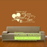 Vinyl Wall Decal - One Direction, I Know We ONLY Met, but Let's PRETEND it's LOVE, 1D Live While We're Young lyrics