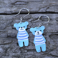 Blue Bear Earrings, Quirky Animal Jewelry, Animal Earrings, Stainless Steel, Whimsical Stripes, Handpainted Earrings, Children Friendly
