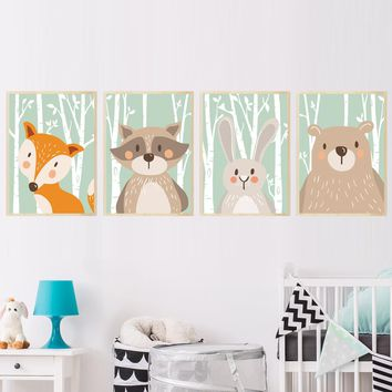Forest Cute Animals Fox Rabbit Bear Canvas Painting Art Print Poster Nursery Wall Picture Kids Baby Room Home Decor No Frame