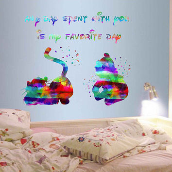 kcik1989 Full Color Wall decal Watercolor Character Disney Winnie the Pooh Tigger quote Sticker Disney children's room