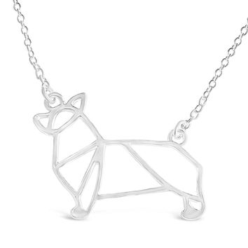 Silver Corgi Dog Necklace - Corgi Origami Inspired Puppy Necklace