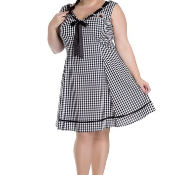 Hell Bunny Plus Size Sweet Lady Gingham Check Ladybug Embroidery V-neck Dress