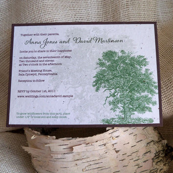 Rustic wedding invitations, wedding invites, plantable invitations, rustic chic, mountain wedding, woodland invite, oak tree invitation - 10