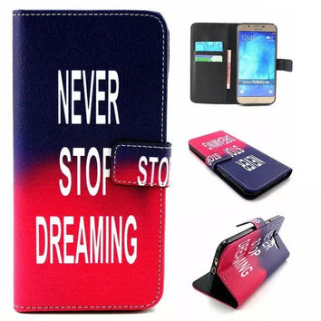 NEVER STOP DREAMING Leather creative case Cover Wallet for iPhone & Samsung Galaxy