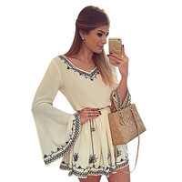 Women Hippie Boho Dress Autumn Sexy V Neck Long Sleeve Flare Print Mini Dress