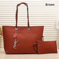 YSL 2018 new fashion letter pack personality atmosphere simple female bag two-piece brown