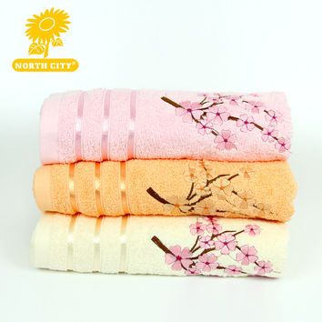 65*130cm Luxury Soft Bath Towels Floral Pattern Cotton Solid SPA Bathroom Bath Towels For Adults Bath Towels #160606_m107