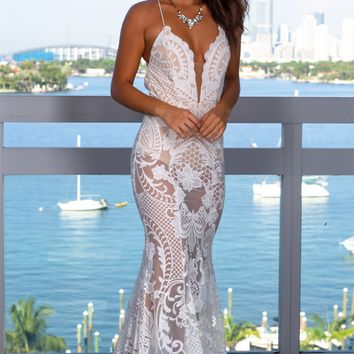 White and Nude Embroidered Maxi Dress with Open Back