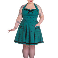 Hell Bunny Jolene Pinup Rockabilly Teal Green Polka Dot mini Dress