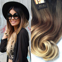 Ombre Clip In Hair Extensions / Natural Human Hair / Malibu Blonde Balayage / Wavy Hair / 10 Piece Clip In Set